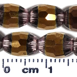37pc 9x6mm Oval Glass Cut Spacer Bead Copper Lt Purple JF2102