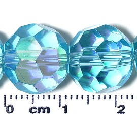 50pc 12mm Ball Crystal Cut Glass Spacer Bead AB Turquoise JF2116