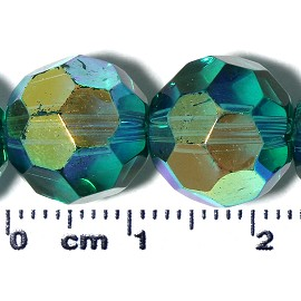 50pc 12mm Round Spacer Crystal Bead AB Teal Gold JF2117