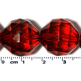 20pc 17mm Ball Crystal Cut Glass Spacer Bead Dark Red JF2129