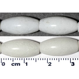 25pc 16x8mm Stone Smooth Long Oval Bead Spacer White JF2149