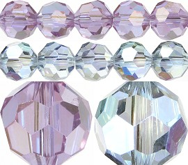 70pcs 8mm Spacers Round Crystal Beads Light Blue Purple AB JF217