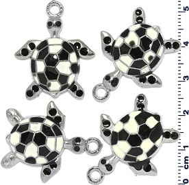 4pcs Flat Sea Turtle Dangle Spacers Black White JF2202