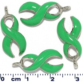 3pcs Ribbon Curve Dangle Spacers Light Baby Green JF2223