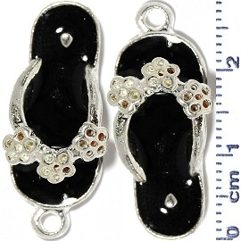 2pcs Flower Sandals Dangle Spacers Dark Silver Black JF2228