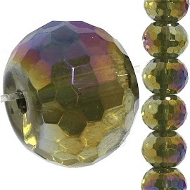 32pc 14mm Crystal Spacer Round Bead Gold Purple Aura JF2229