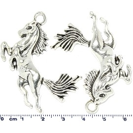 2pcs Standing Horse Dangle Spacers Silver Tone Black JF2240