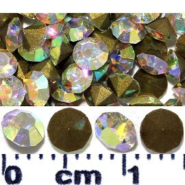 200pcs 3mm Wide Loose Rhinestones Aurora Borealis Gold JF2244