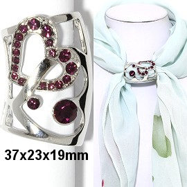 1pc Scarf Ring Pendant Spacer Part Rhinestone Dark Purple JF2246