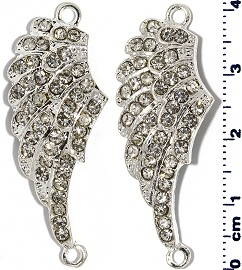 2pcs Angel Wings 40mm Tall Rhinestone Silver Tone JF2258
