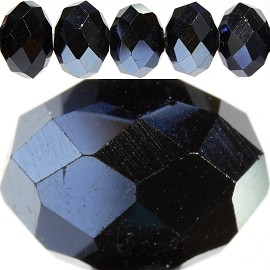70pc 10mm Spacer Crystal Bead Black Silver Aura JF230