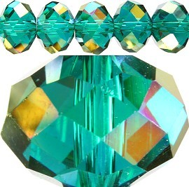 60pc 14mm Spacer Crystal Bead Teal Aura JF245
