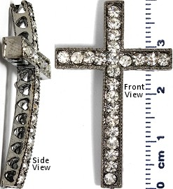 Rhinestone Spacer Cross 39mm Tall Silver JF249