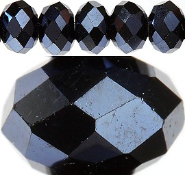 150pc 3mm Spacer Crystal Bead Black Silver JF382
