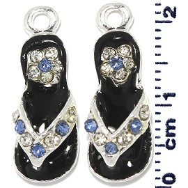2pcs Flip Flops Rhinestone Spacer Black Blue White JF266