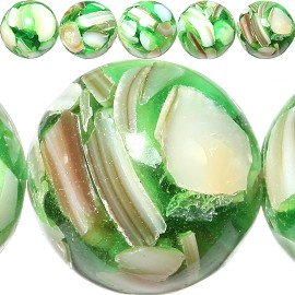 28pc 14mm Shell Bead Stone Spacer Green JF290