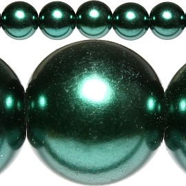 80pc 10mm Spacer Faux Pearl Forest Green JF311