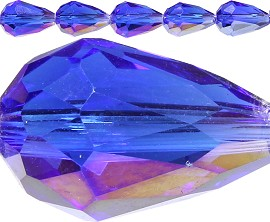 60pc 12x8mm Spacer Tear Crystal Royal Blue Aura JF323