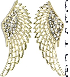 Pair (2pcs) Angel Wings Spacer Rhinestone Gold JF375