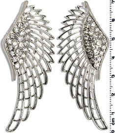 Pair (2pcs) Angel Wings Spacer Rhinestone Silver JF392