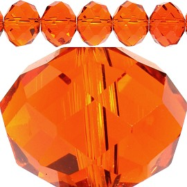 48pc 16mm Crystal Spacer Oval Orange JF395