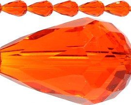 50pc 16x10mm Crystal Tear Spacers Orange JF396