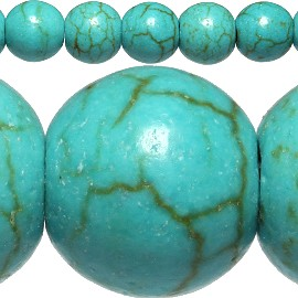 70pc 6mm Earth Stone Bead Spacer Turquoise JF407