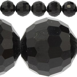 50pc 12mm Crystal Spacer Round Bead Black JF414