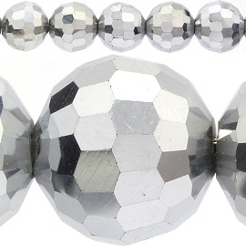 48pc 12mm Round Spacer Crystal Bead Silver JF415