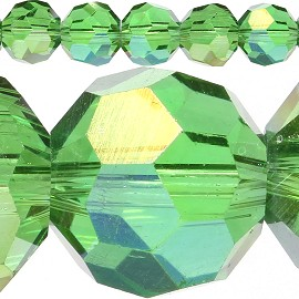 70pc 10mm Crystal Spacer Round Apple Green Aura JF418