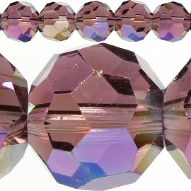 70pc 10mm Round Spacer Crystal Purple Aura JF421