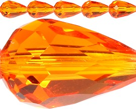60pcs 12x8mm Tear Crystal Bead Spacers Orange JF432