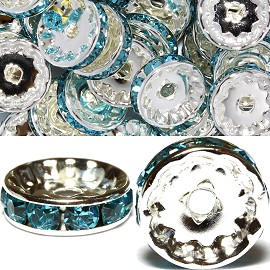 50pcs 12mm Wheel Rhinestone Spacer Turquoise JF451