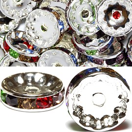 50pcs 12mm Wheel Rhinestone Spacer Multi Color JF452
