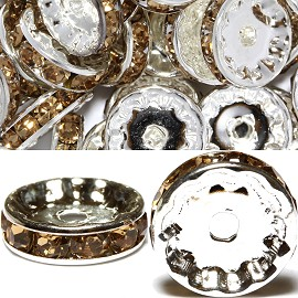 50pcs 12mm Wheel Rhinestone Spacer Tan JF454