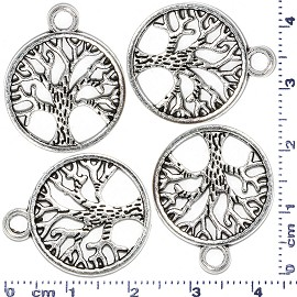 4pcs Metallic Pendant Circle Tree Of Life Spacer Silver JF457