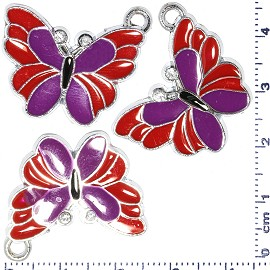 3pcs Metallic Pendant Butterfly Rhinesto Red Purple Spacer JF480