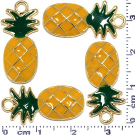 4pcs Metallic Pendant Pineapple Spacer Orange Green Gold JF489