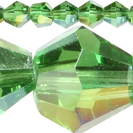 120pc 4mm Bicone Crystal Beads Green Aura JF510