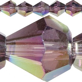 50pc 6mm Bicone Crystal Beads Purple Dark Aura JF558