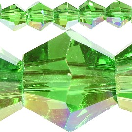 50pc 6mm Bicone Crystal Beads Green Aura JF566