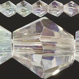 50pc 6mm Bicone Crystal Beads Clear Aura JF568