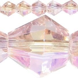 50pc 6mm Bicone Crystal Beads Pink Aura JF570