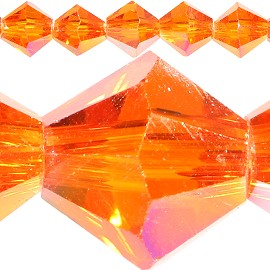 50pc 6mm Bicone Crystal Beads Orange Aura JF571