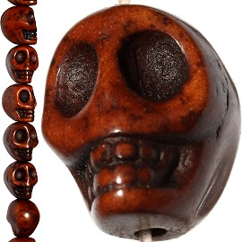 30pc Earth Stone Skull Spacer 15x13x11mm Brown JF729