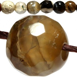 60pc Agate Quartz Cut Bead Ball Spacer 6mm Brown White JF768