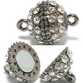 2 Pairs Magnetic End Clasps Rhinestone Ball Gray Color JF785