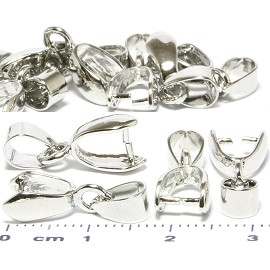 12pcs Dangle Pinch Bails Parts for Pendants Silver Tone JF791