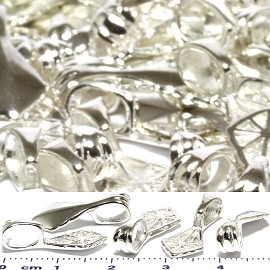50pcs Leaf Bails 20x9x6mm Parts for Pendant Silver Tone JF795