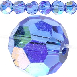 70pc Crystal Cut Bead Ball Spacer 8mm Blue Aurora JF800